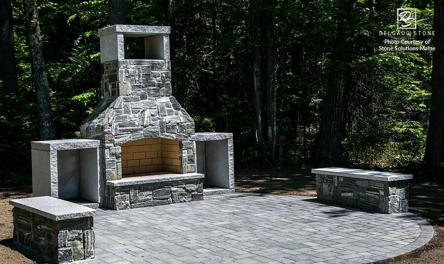 American Mist Ourdoor Fireplace by Stone Solutions Maine