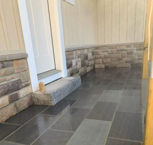 Veneer and stone patio