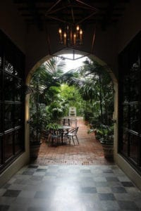 A view of a patio after rain.