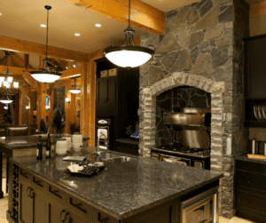 Stone detailed wall in kitchen