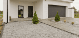 gravel driveway to help with water drainage