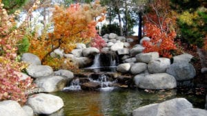 Faux waterfall fountain made of stone