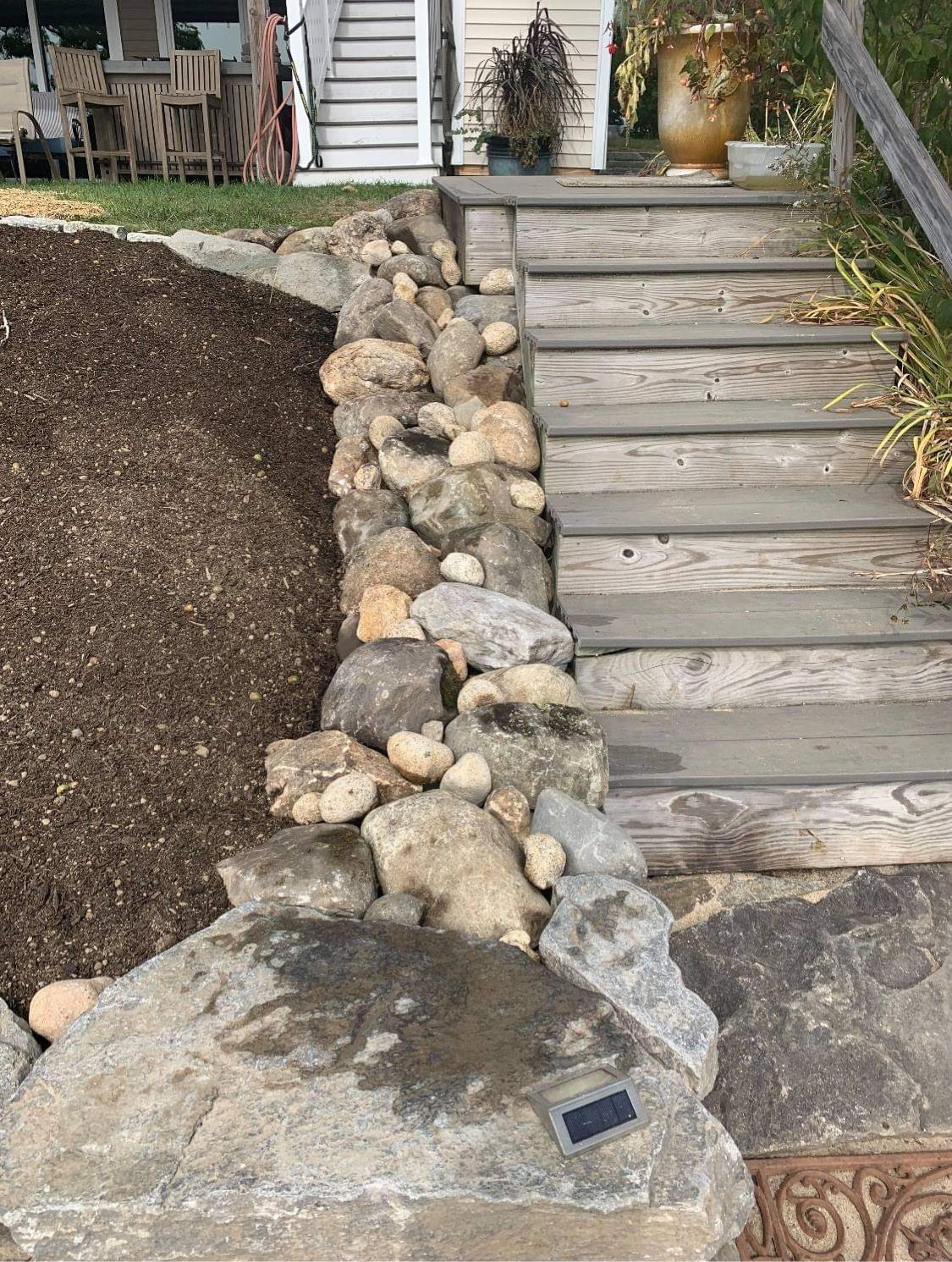 Landscaped yard with hardscaping